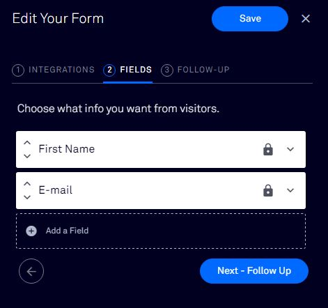 LeadPages form fields