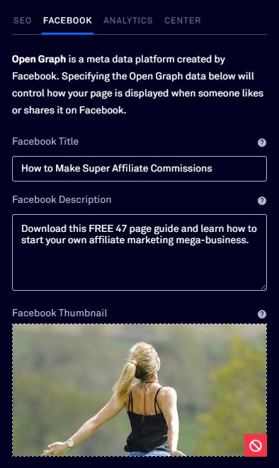 Add Facebook data to a LeadPage
