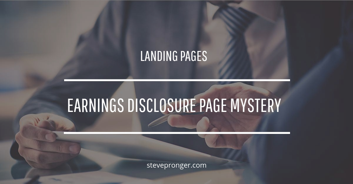 Earnings Disclosure Page Mystery